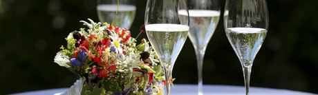 Champagne and Flowers on a table