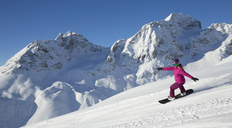 Snowboarding on the pistes from St. Moritz