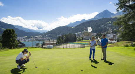 Playing golf in the mountain landscape of Engadin