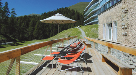 Sun terrace at Hotel Castell in Engadin