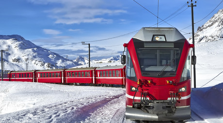 Exploring the mountain landscape with the Bernina Express