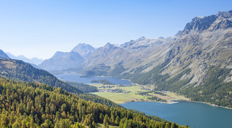 Lakes in mountain valley of Engadin