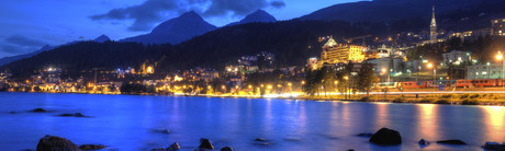 The skyline of St. Moritz at night